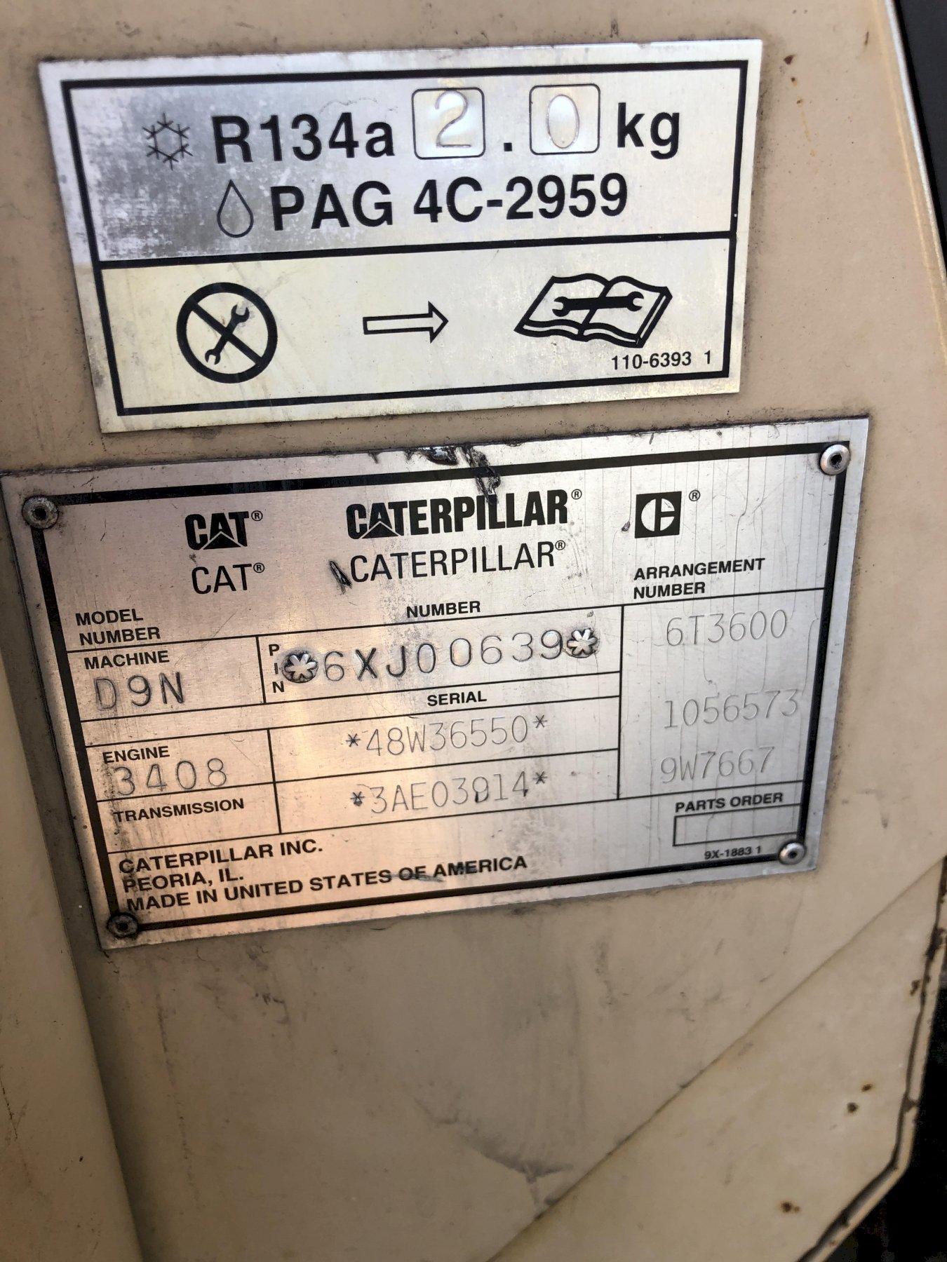 Caterpillar model d9n track mounted bulldozer s/n 6xj00639 with balderson 3wl model bd9u19 blade s/n 15470, 3408 engine s/n 48w36550, 14846 hours