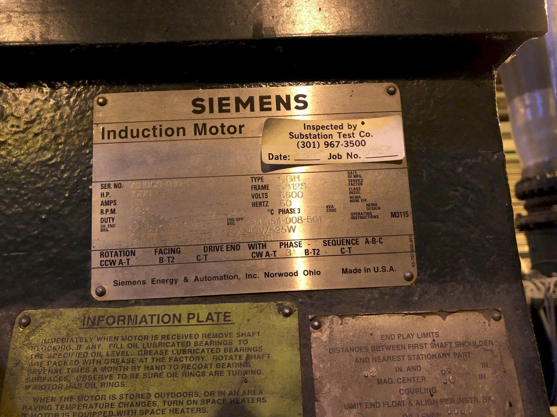 2008 recycle blower system with Siemens 1500 hp motor 6600 volt s/n 079172?020-1, Falk dolrs-gear-ooo2c gearbox, Harman 800gsl blower model 80tycslraamm163 s/n mds29987m