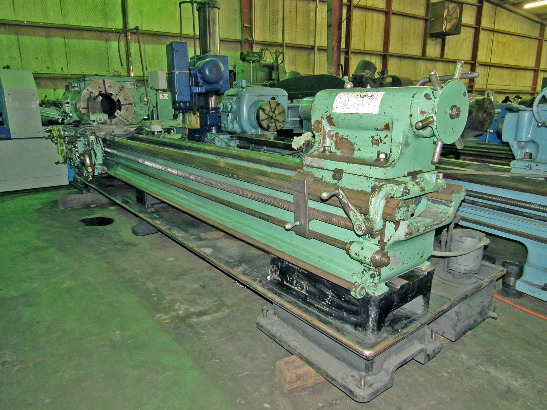 "USED, 24"" X 120"" LEHMANN HOLLOW SPINDLE LATHE WITH 12"" SPINDLE BORE"