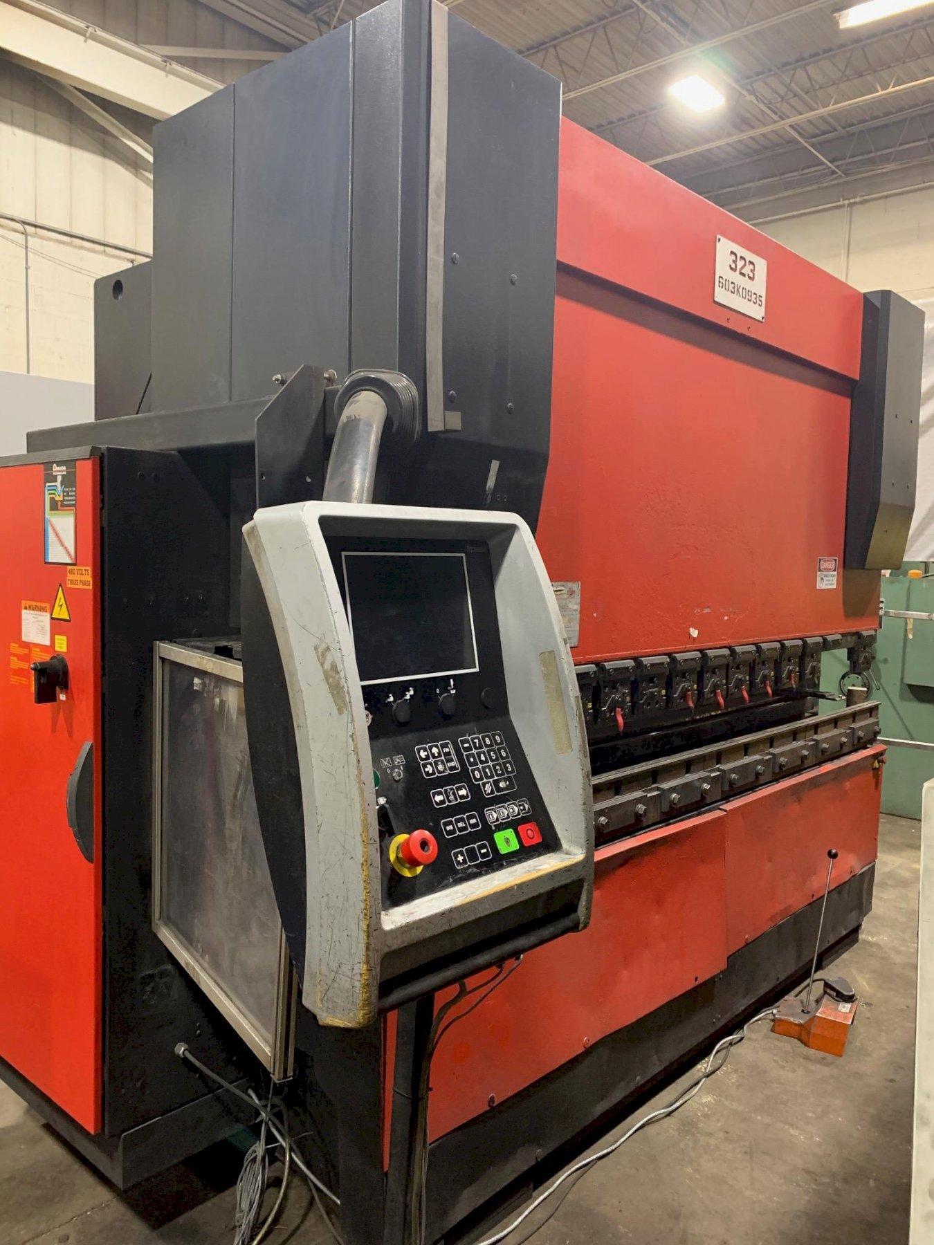 USED AMADA 143 TON X 10' MODEL HFE 1303 6-AXIS HYDRAULIC DOWNACTING CNC PRESS BRAKE, Stock# 10731, Year 2003