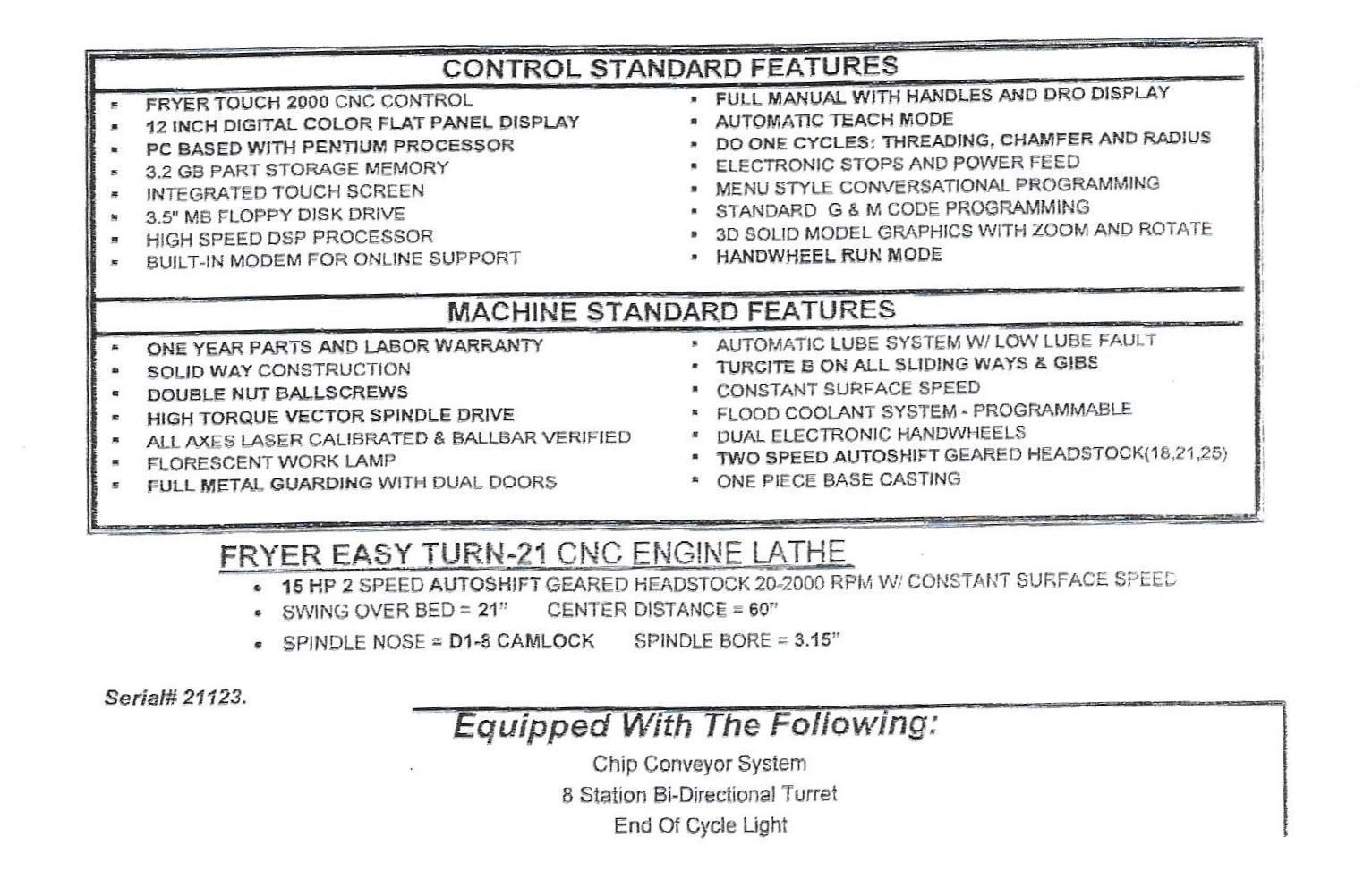 FRYER Easy Turn-21 CNC Engine Lathe, S/N 21123.