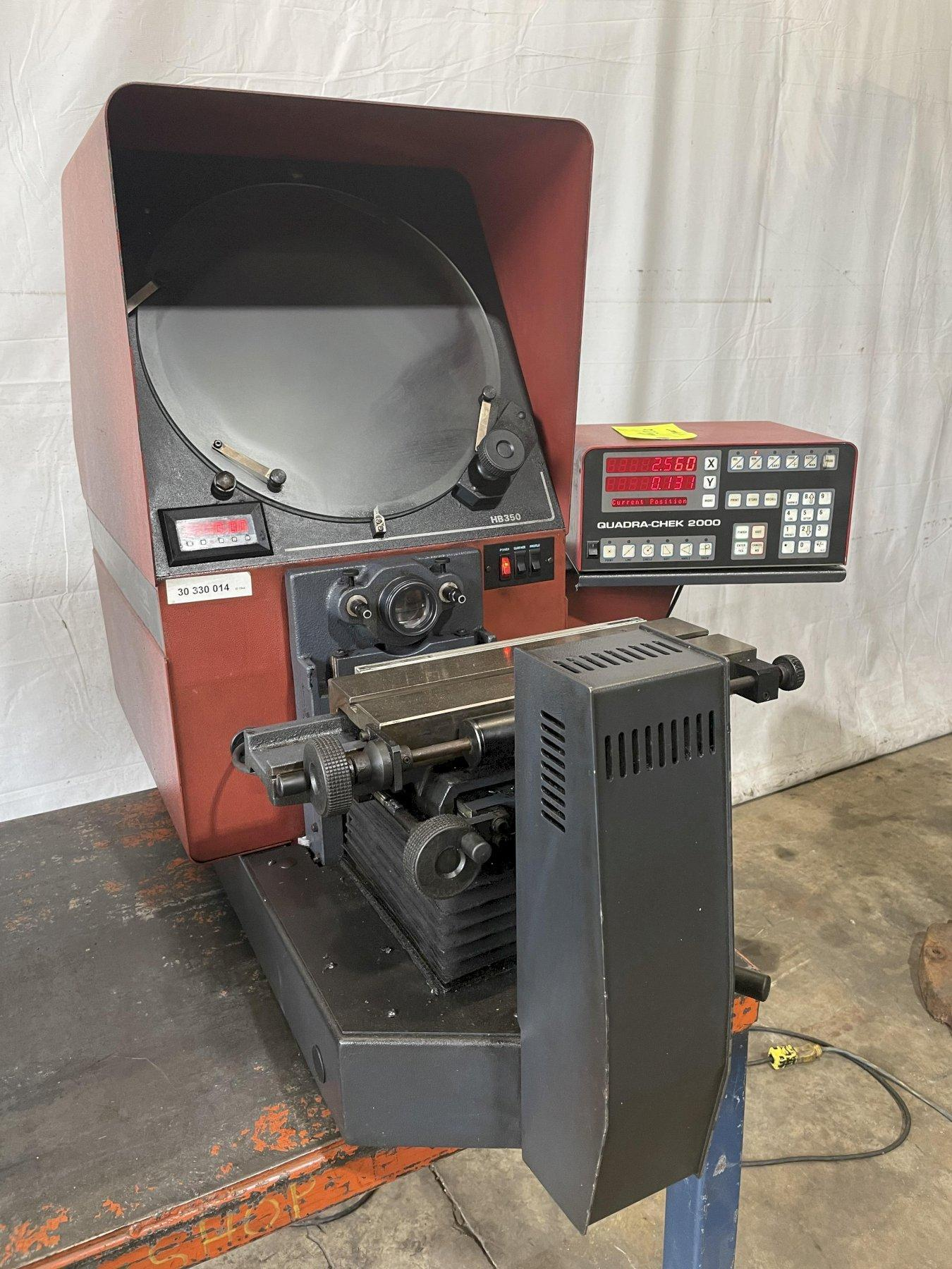 """14"""" STARRETT MODEL #HB350 OPTICAL COMPARATOR WITH QUADRA-CHEK 2000 READ OUT: STOCK 15122"""