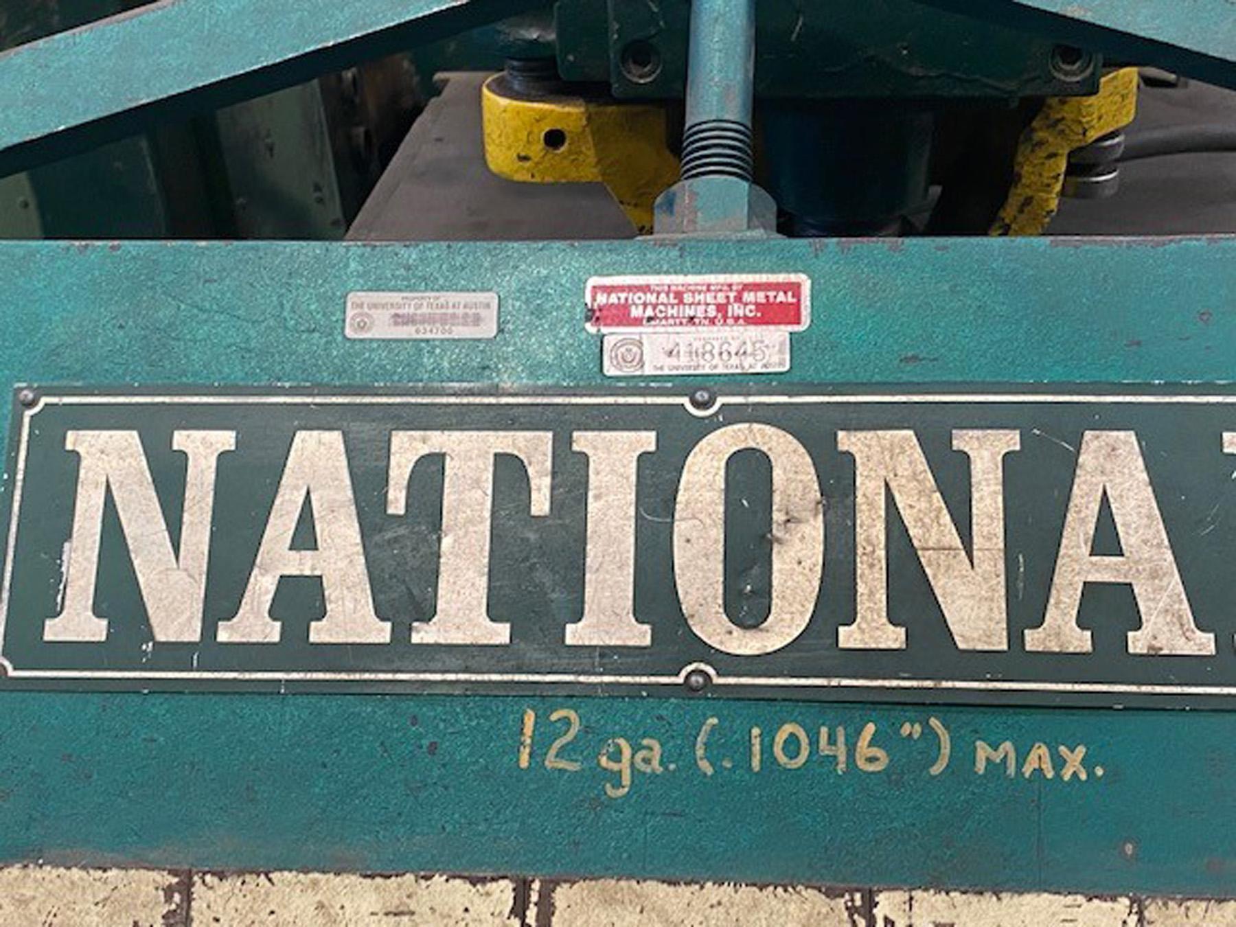 USED, 12 GA. NATIONAL MODEL U7212 BOX & PAN BRAKE