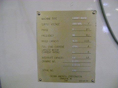 "OKUMA CADET MATE 4020, Okuma OSP 700M CNC, X=40"", Y=20"", Z=20"", Cat-40 Spindle, 8000 RPM, 20 Station Tool Changer, Box Way, New 1999."