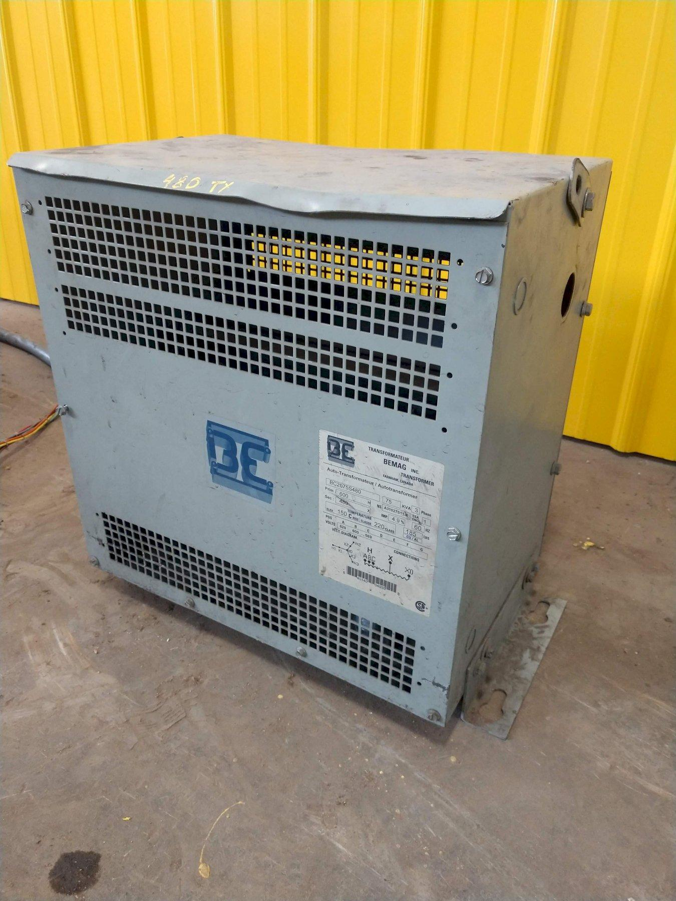 75 KVA BEMAG 600 TO 480 VOLT ELECTRIC TRANSFORMER: STOCK #10823