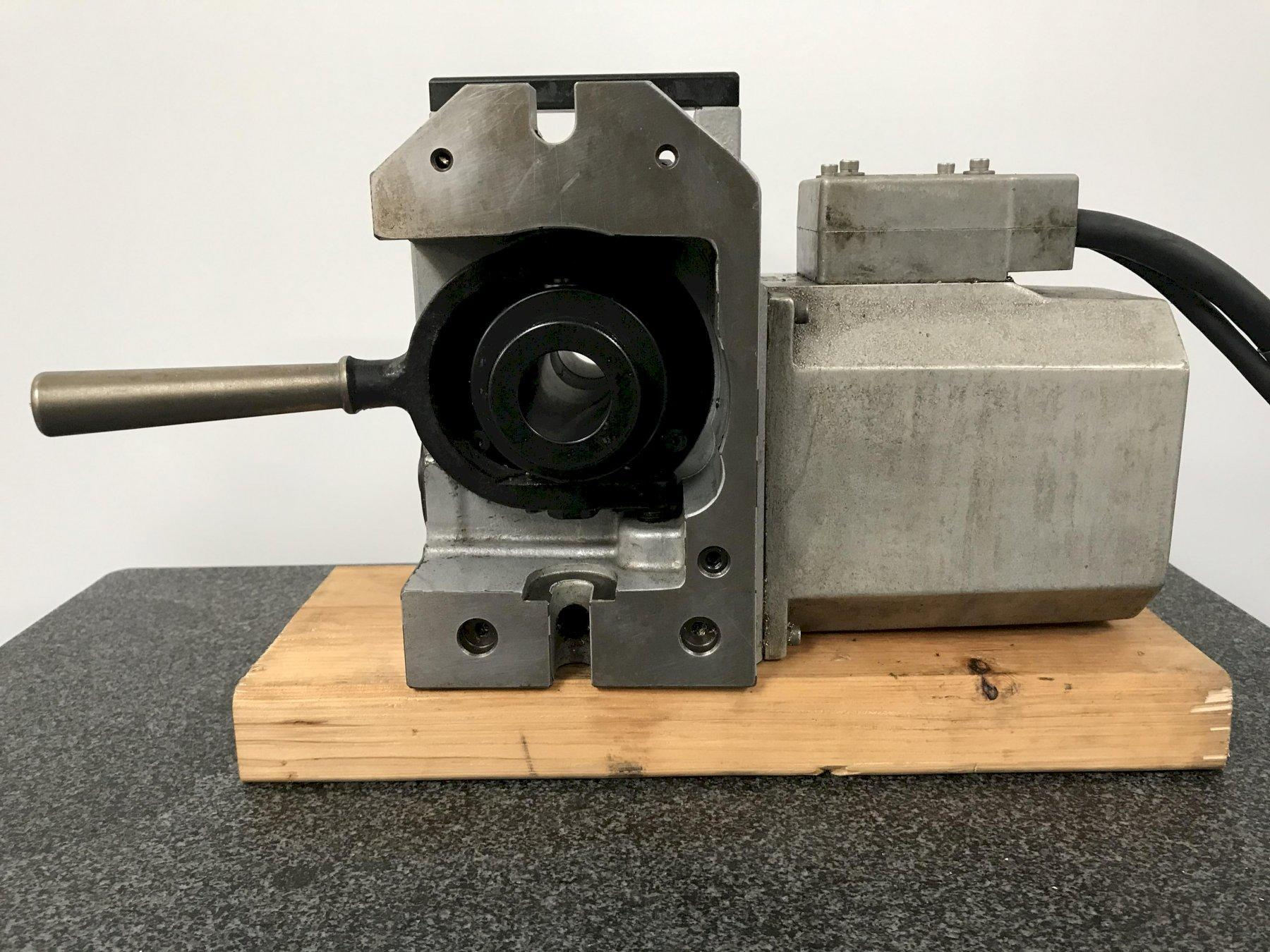 Haas HA5C Programmable Rotary Table, Brushless Drive Motor, Hand Lever Collet Closer, and Cables.