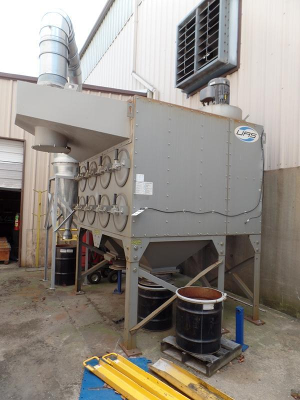 UAS MODEL SFC16-2 CARTRIDGE DUST COLLECTOR S/N 60069492, RATED AT 4080 S.F. FILTER AREA, 16 CARTRIDGES, BLOWER AND MOTOR, WITH LARGE PARTICLE DROP OUT