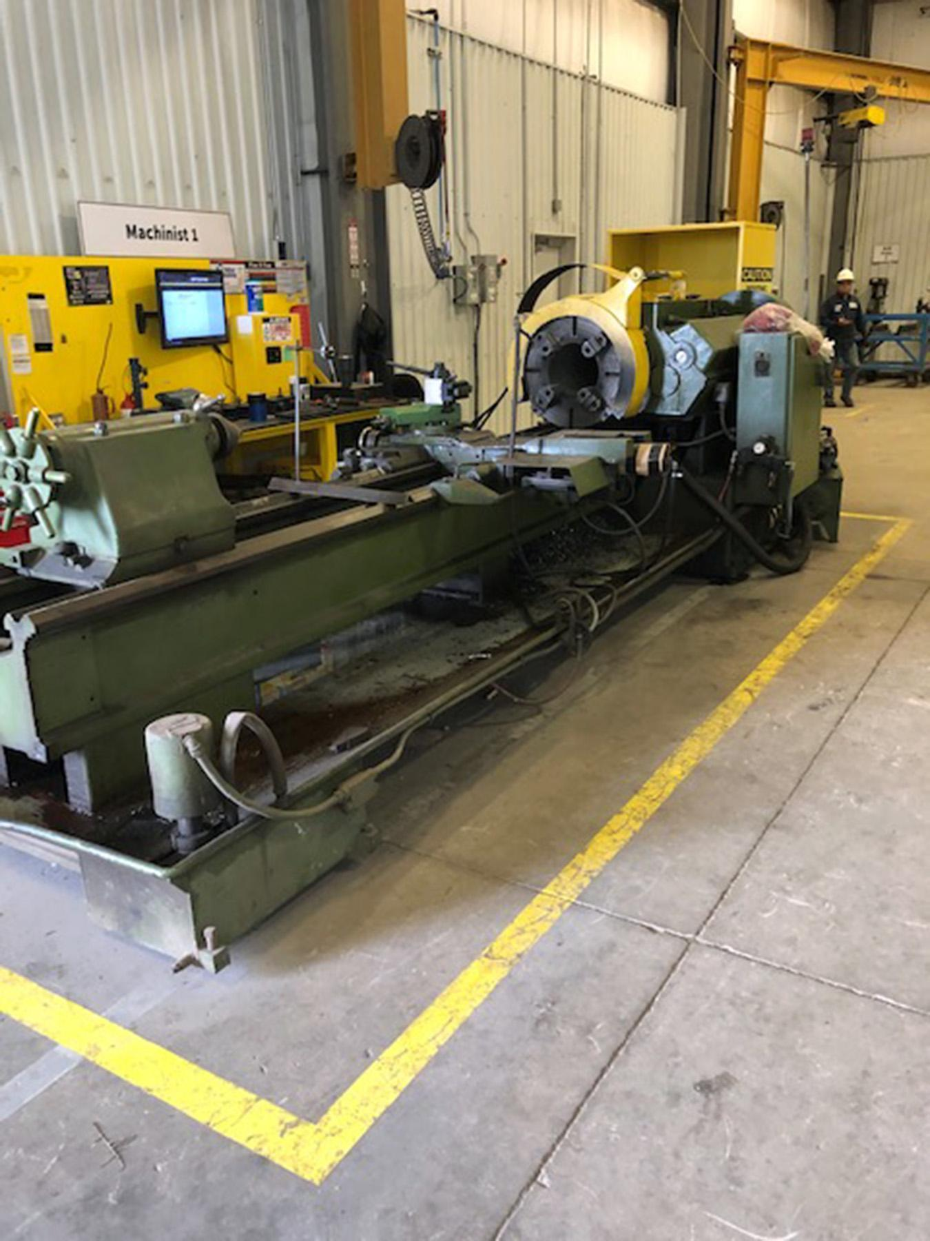 """USED, 27"""" X 120"""" LEHMANN MODEL 2516 HOLLOW SPINDLE LATHE WITH 12"""" SPINDLE BORE"""