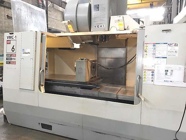 """HAAS VF-6/50, Haas CNC Control, Remote Hand Held Pendent, 64"""" x 28"""" Table, X=64"""", Y=32"""", Z=30"""", 7500 RPM, Cat-50, 30 Station Tool Changer, 12"""" Full Contouring 4th Axis Rotary Table, Thru Spindle Coolant, Probes, New 2009."""