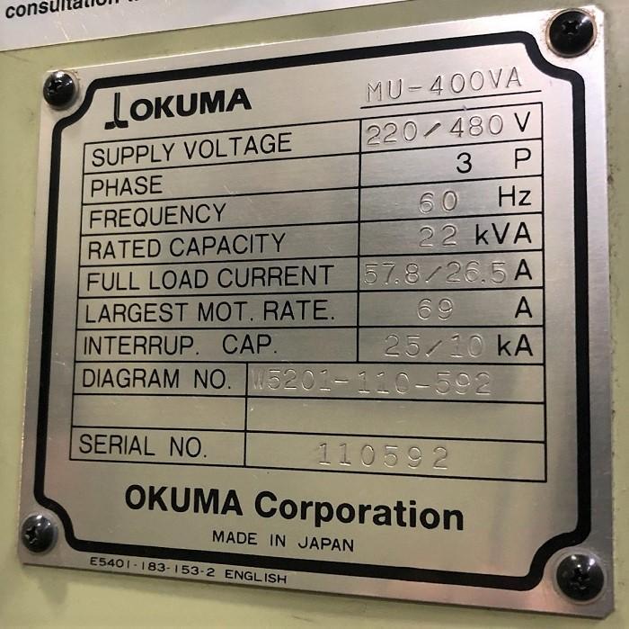 "OKUMA MU-400VA 5-Axis, OSP E100M-H CNC Control, 15.75"" Round Table, X=30"" , Y=18"" , Z=18"", A = +20 /-110 Degrees, C= 360,000 Degrees, 8000 RPM Spindle, 20 ATC, Cat- 40 Taper , New 2005."