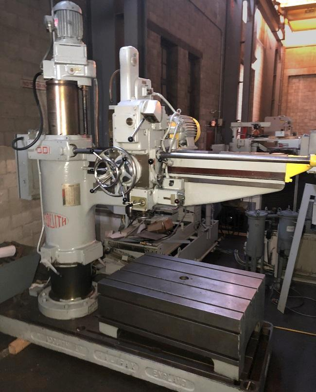 """6' x 11"""" ASQUITH RADIAL ARM DRILL, Model OD1, 6' Arm Length, 11"""" Column, Power Clamping, Power Elevation of Arm, Rapid Power Traverse of Head, Tapping, Box Table."""