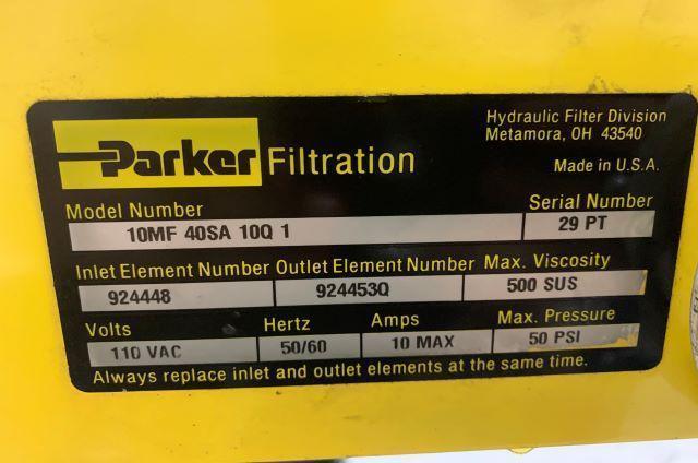 Used Parker Filtration Car, 10MF40SA10Q1, 110V, 0.75hp