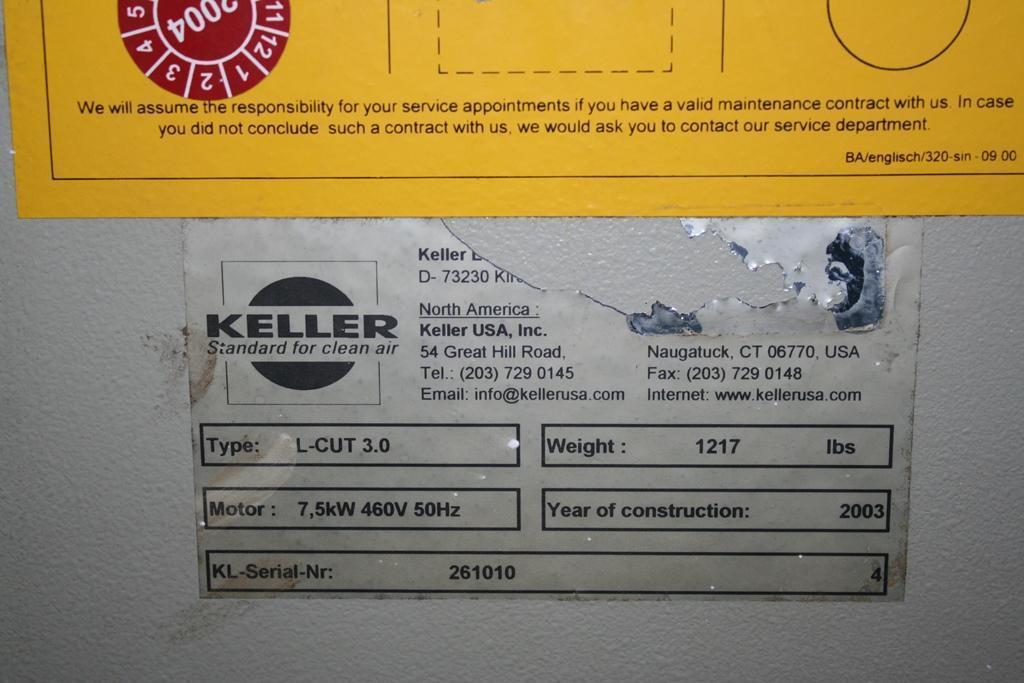 KELLER MODEL L-CUT 3.0 DUST COLLECTOR: STOCK 62069