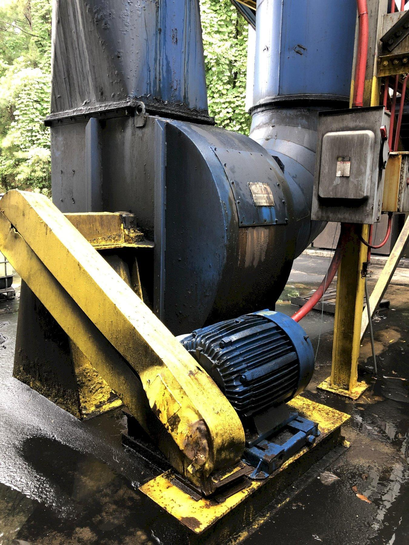 CARBORUNDUM MODEL 54582-1-465 100 HP PULSE BAG DUST COLLECTOR S/N PCF549-9001 WITH 2- ROTARY AIR LOCKS, RATED AT 36,000 CFM