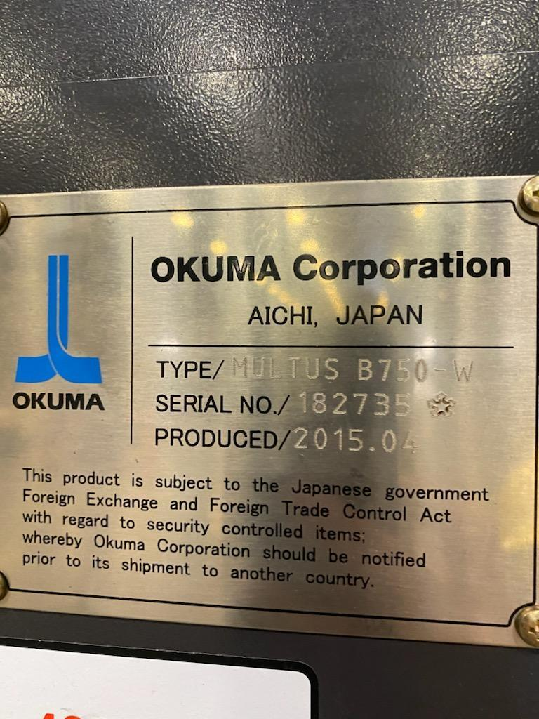 "OKUMA MULTUS B750Wx3000 9-AXIS CNC TURNING CENTER, Okuma OSP-300CNC Controls, 41"" Max Swing, 131"" Between Centers,  Two Spindles & Universal Head, B-Axis, C-Axis, Y-Axis, 160 ATC, New 2015."