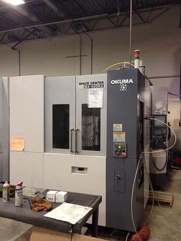 """OKUMA MA400HA OPS P200 CNC, (2) 15.75"""" x 15.7"""" Pallets, X=22"""" Y=24"""", Z=24"""", 1 Degree Axis Pallet Rotation, 60 Position Tool Changer, Cat-40, 15000RPM, New 2007."""