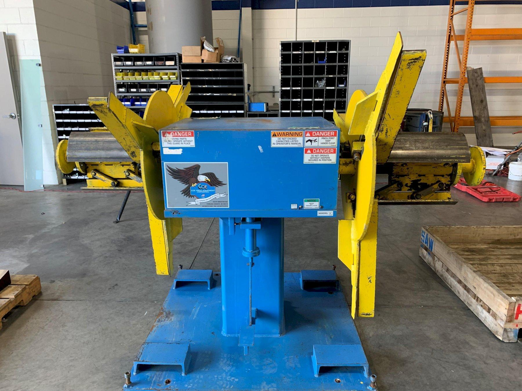 Coe Press Pull Off Double End Coil Reel Uncoiler 2,500 Lbs.