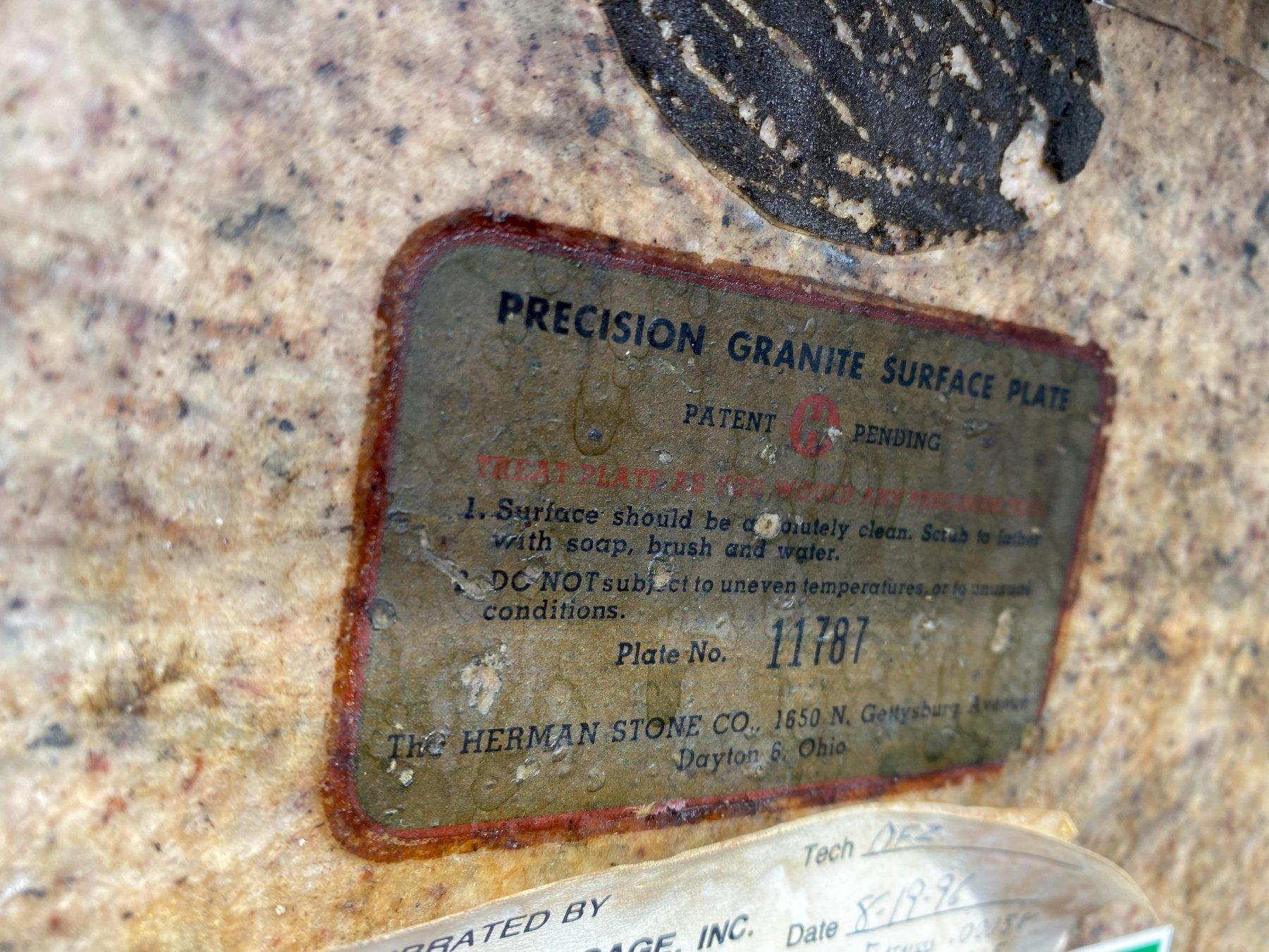 """48"""" X 96"""" X 16"""" THICK HERMAN GRANITE SURFACE PLATE WITH STAND"""