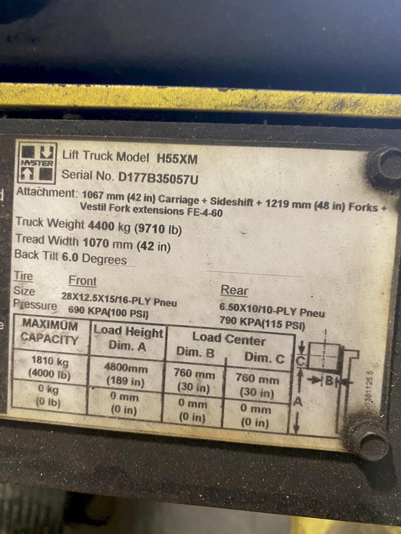 5,500 LB HYSTER H55XM PROPANE FORKLIFT. STOCK # 0847121