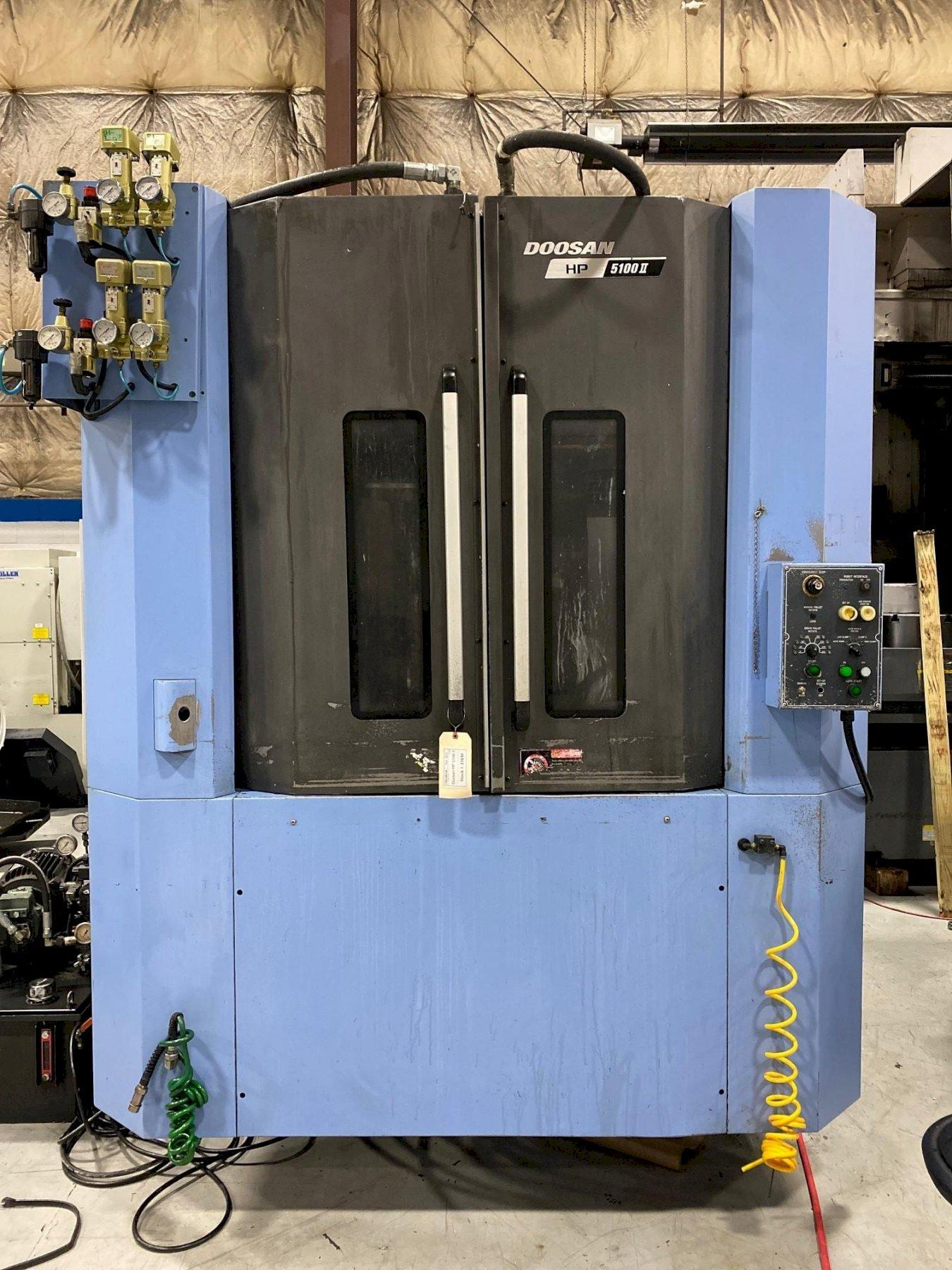 """Doosan HP5100II CNC Horizontal Machining Center, Fanuc 31iA, 19.7"""" Pallets, HSK63, 14K Spindle, CTS, 30 HP, Hyd Clamping, 60 ATC, Chiller, Full 4th, 2015 (3 Available)"""