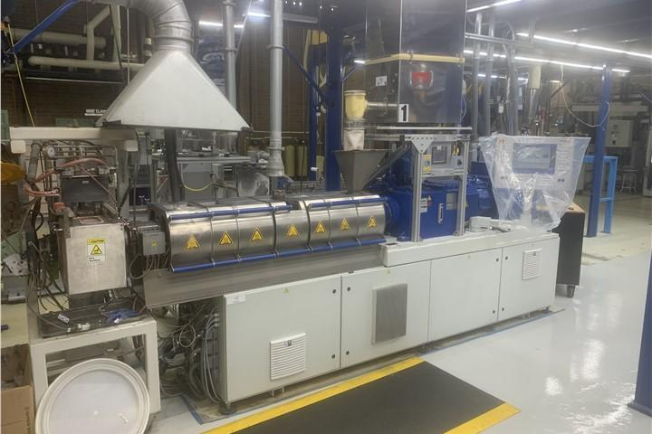 Krauss Maffei-Berstorff Used 40mm Co-Rotating Twin Screw Strand Pelletizing Line, Yr. 2013