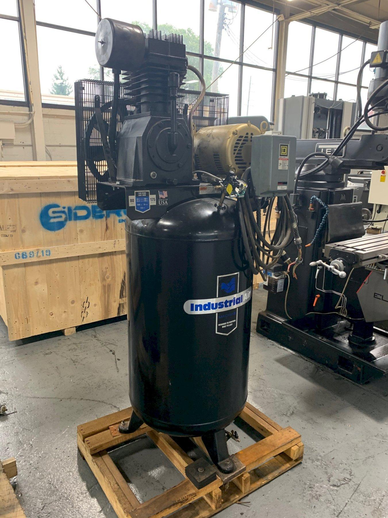 USED INDUSTRIAL AIR TANK MOUNTED AIR COMPRESSOR, MODEL IV7538015, YEAR 2016, STOCK# 10647