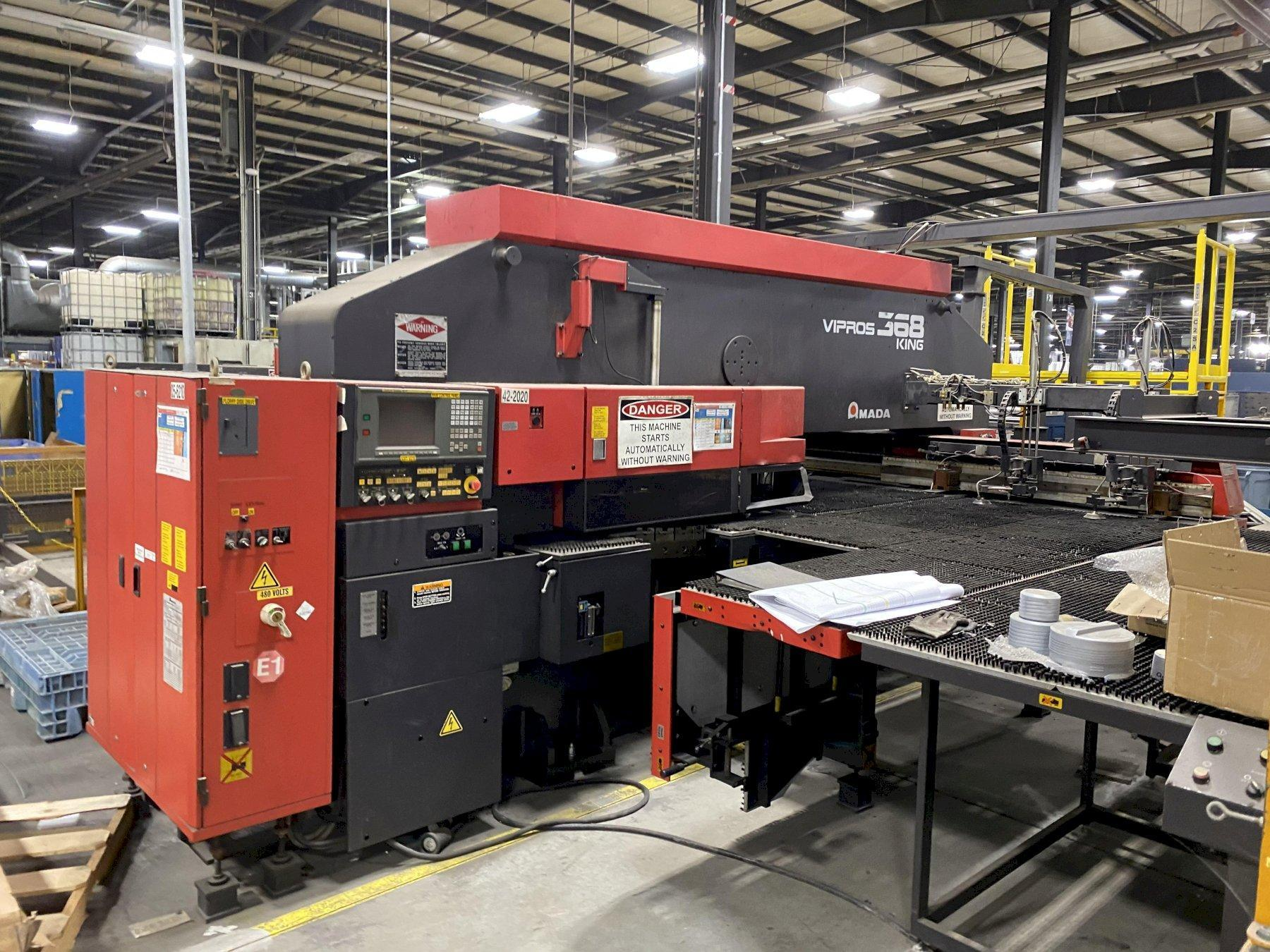 33 TON AMADA VIPROS 368 KING CNC TURRET PUNCH WITH LOADING TOWER AND UNLOADER SYSTEM. STOCK # 2001220