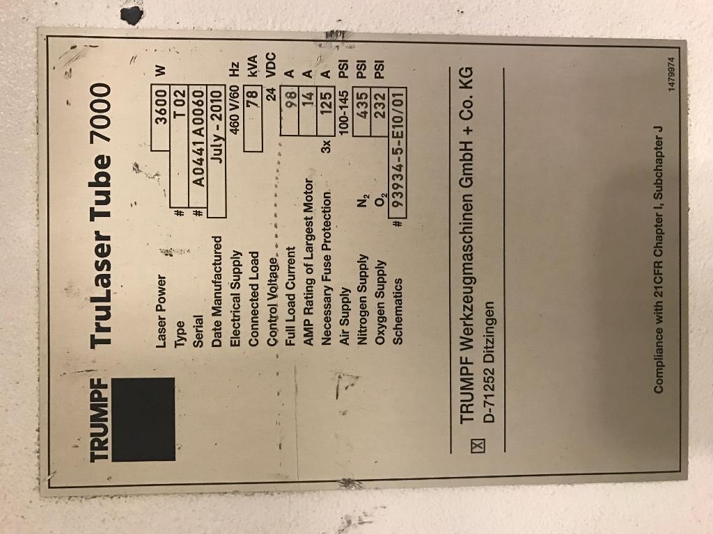 Trumpf 7000 T02 Tube Laser