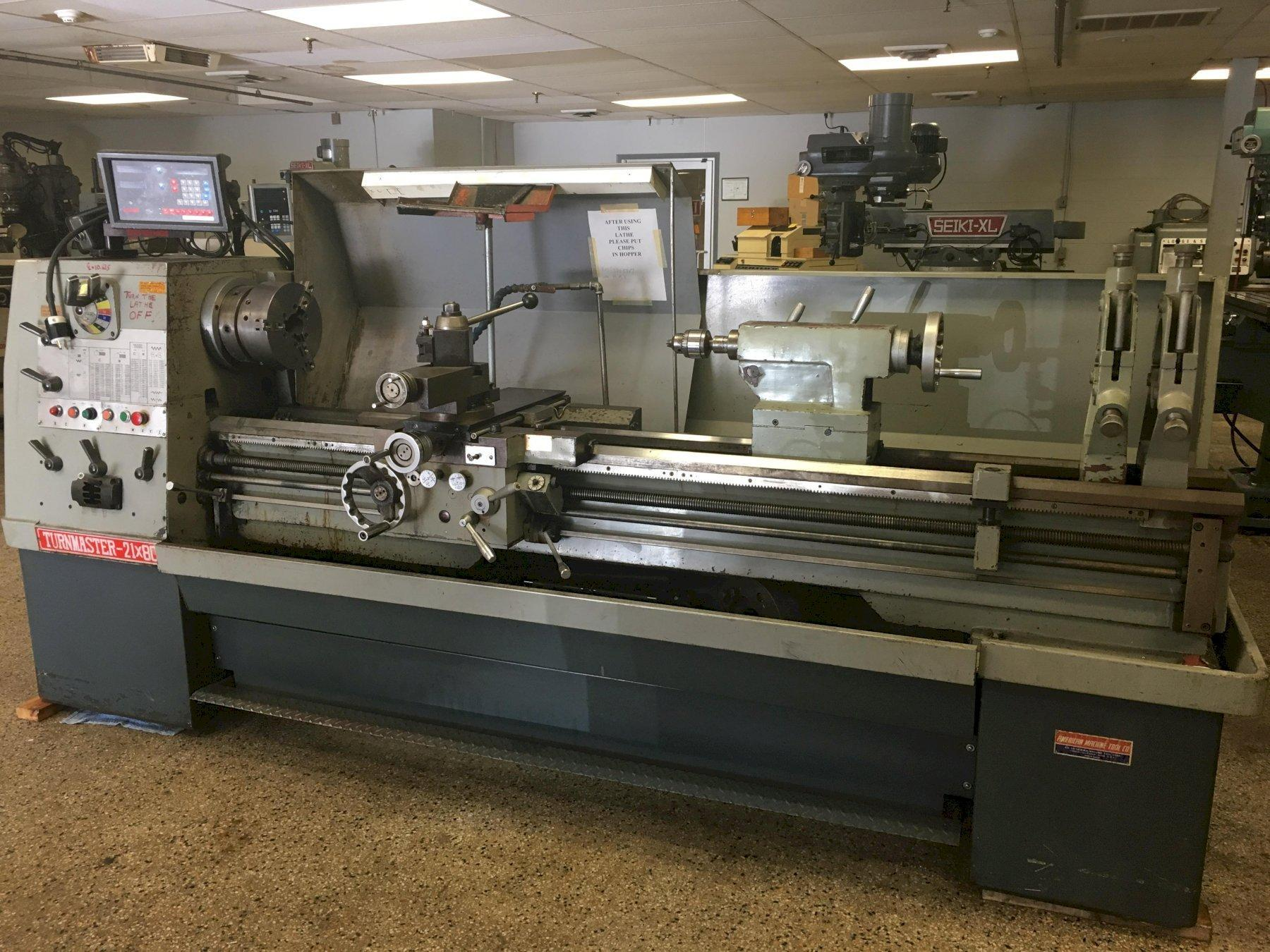 "Turnmaster 21"" x 80"" Engine Lathe, Serial #21894040519, New approx 1994."
