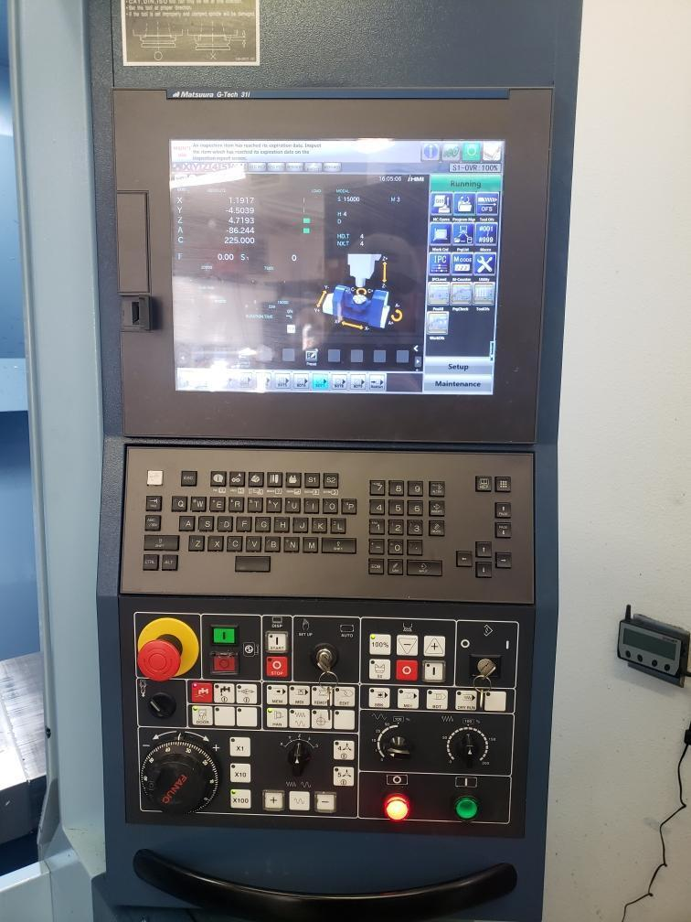 Matsuura MX-330 5-Axis VMC 2015, with: G-Tech 31i CNC Control, High Pressure Coolant, Laser Tool Probe, and Chip Conveyor.