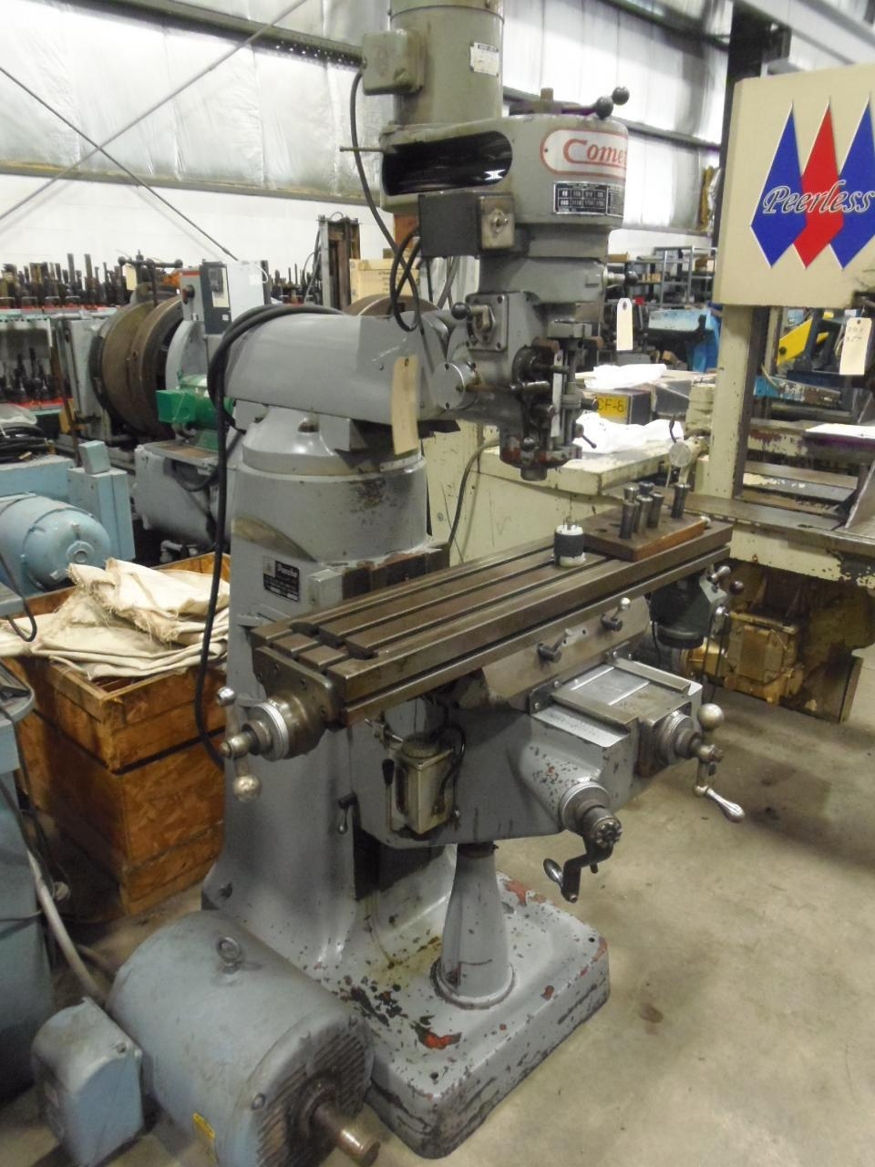 COMET VERTICAL MILL, 9 x 42 TABLE, POWER FEED, 2 HP, BELT PULLEY