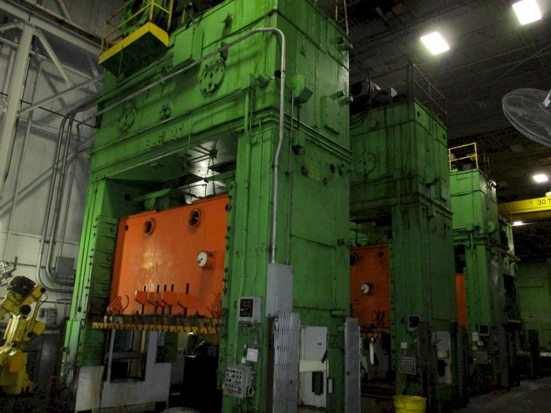 2200 TON ERFURT TANDEM PRESS LINE, CONSISTING OF (3) 2200 TON & (2) 1375 TON STRAIGHT SIDE DOUBLE CRANK MECHANICAL PRESSES