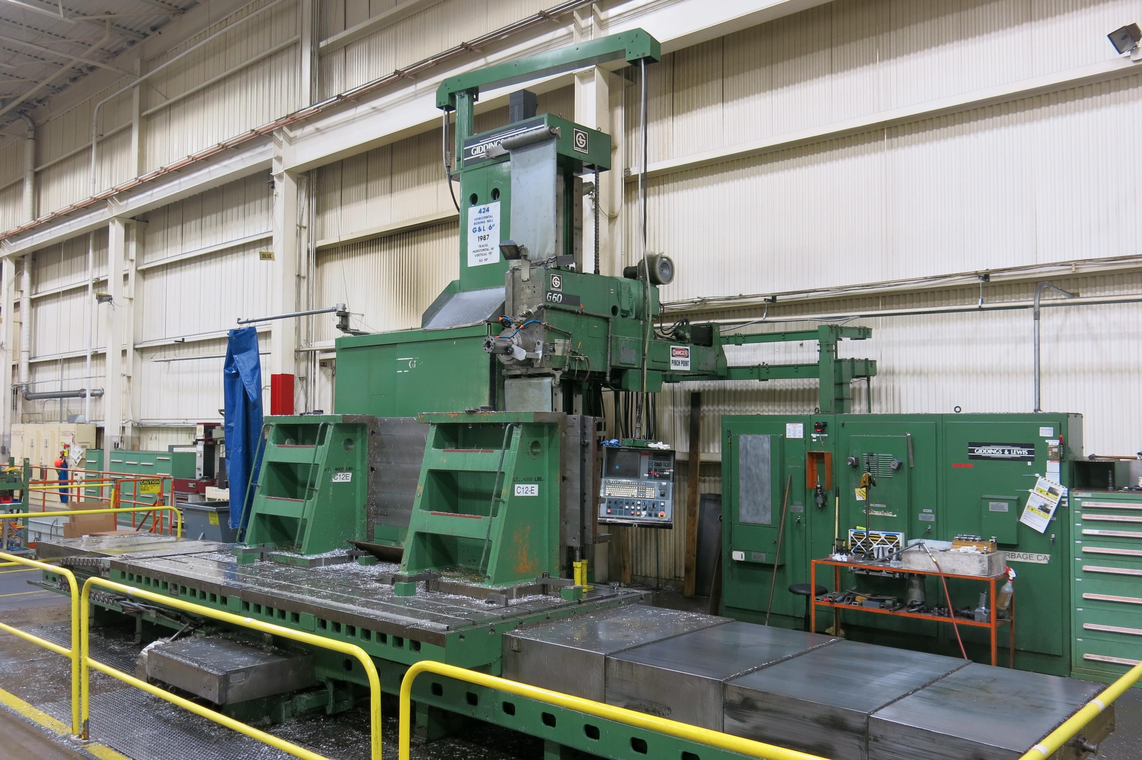 """6"""" Giddings & Lewis Model G60-T CNC Table Type Horizontal Boring Mill, Hard Ways, 2500 RPM, 4th Axis Contouring Capable, 60 ATC, 50 HP, 1987 (G&L 8000H-Recontrolled 2005)"""