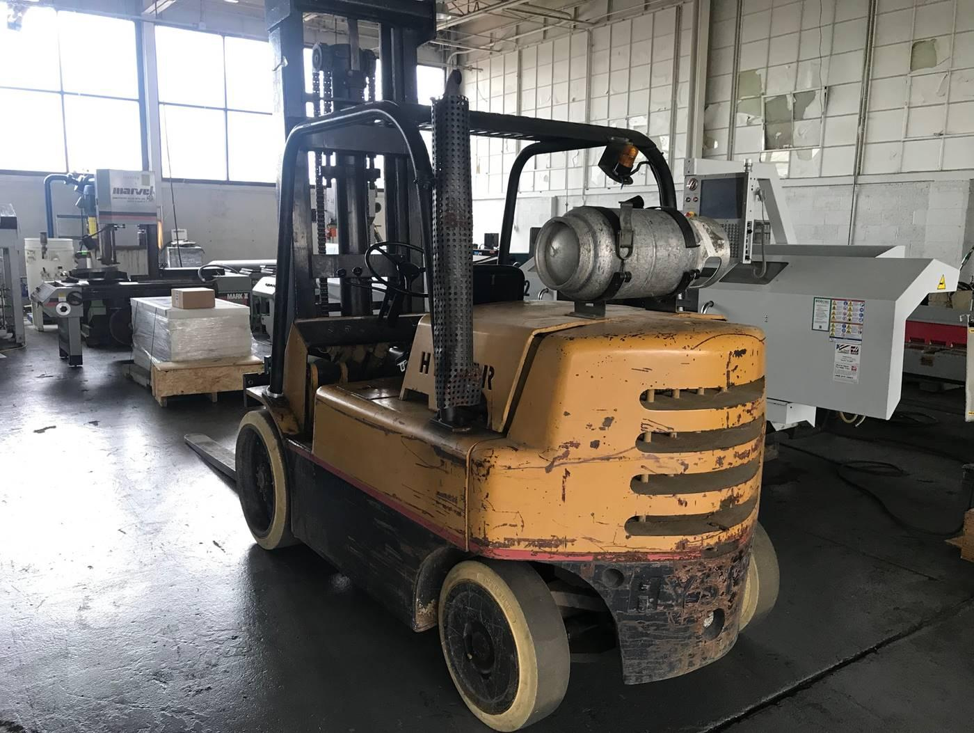USED HYSTER 12,500 SOLID TIRE FORKLIFT, 1985, Stock No. 10585
