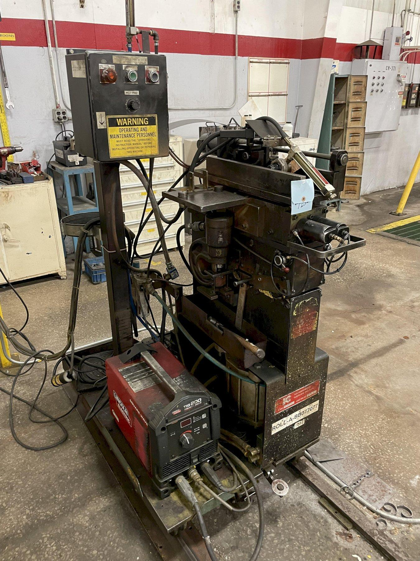 """10"""" KENT MODEL #10-135PM COIL SHEAR END SEAM WELDER WITH LINCOLN TIG WELDER: STOCK #15345"""