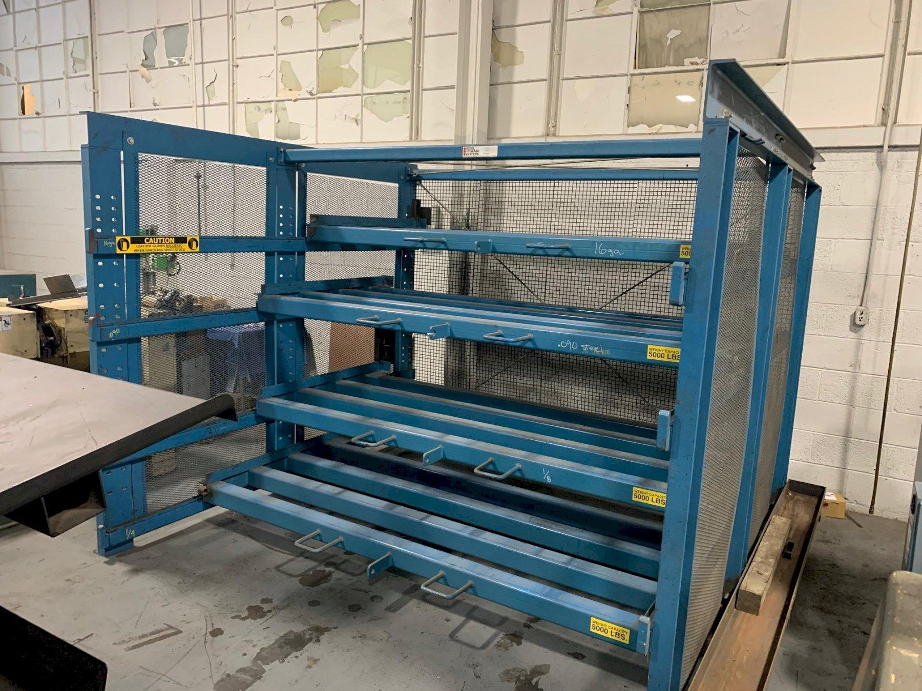 USED STEEL STORAGE SYSTEMS ROLL OUT MATERIAL STORAGE RACK SYSTEM, STOCK NO 10680, YEAR: 2000