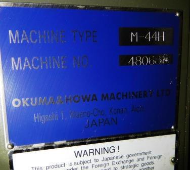 "OKUMA HOWA MILLAC 44H HORIZONTAL MACHINING CENTER, Fanuc 18 Ctrl, (2) 12.7"" Full Contrg Pallets, Travels: X= 17"" ,Y=16"" , Z= 20"" , (24) ATC, 12,000 Max RPM, New 2003."