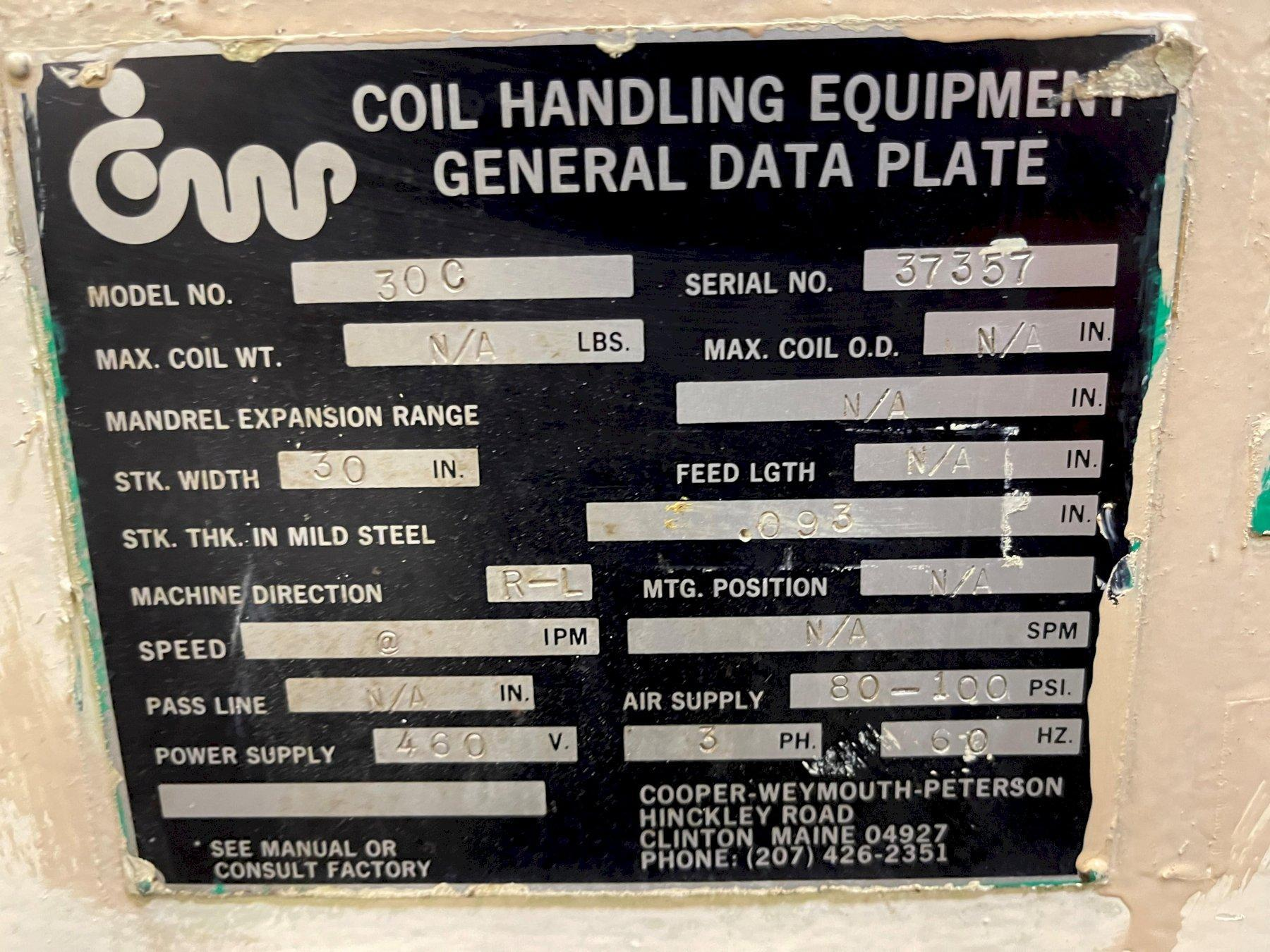 "30"" Cooper Weymouth Peterson Powered Straightener Model 30C"