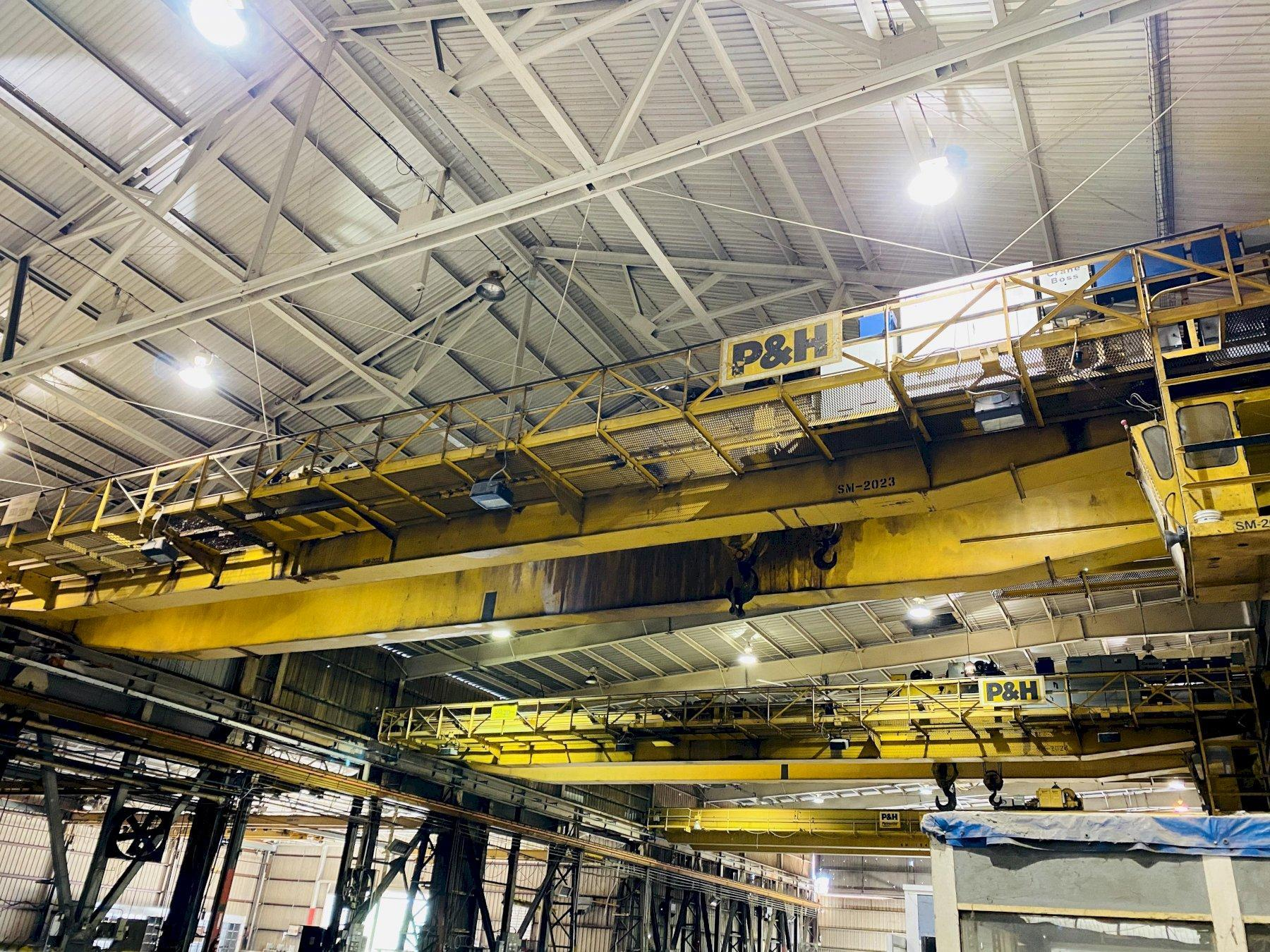 "50 TON X 103'6"" P&H OVERHEAD BRIDGE CRANE WITH 20 TON AUXILIARY. STOCK # 0733520"