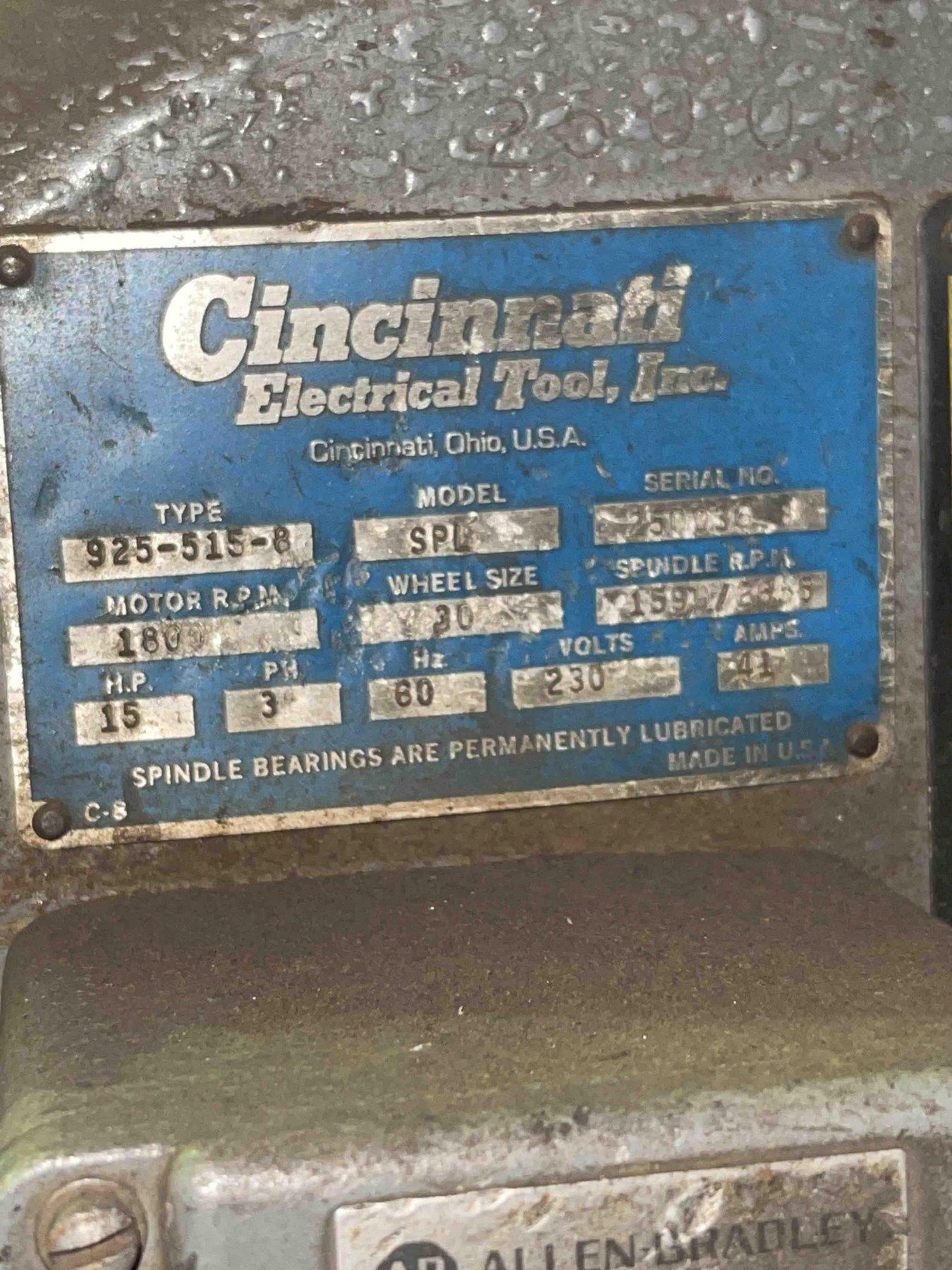 Cincinnati model 925-515-8 left hand single end snag grinder with safety guard, 15 hp, s/n 250036