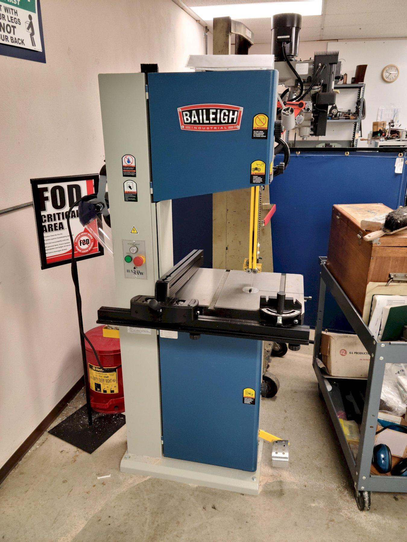 BAILIEGH INDUSTRIAL Model WBS-14-S Wood Cutting Vertical Band Saw, S/N 180851, New 2018.