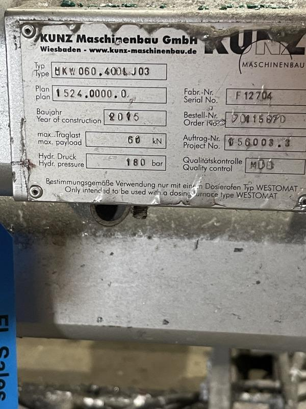 Kunz model nkw060.400lj03 Die lift table for Dosing furnace s/n F12704 60 kn capacity, priced with tag #12715