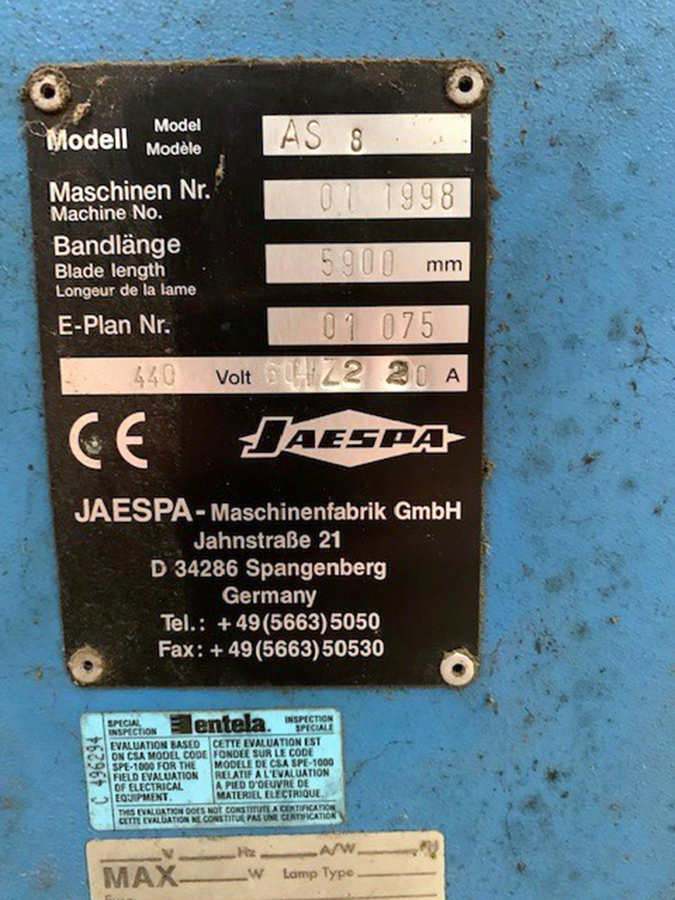 USED, JAESPA MODEL AS-8 VERTICAL BANDSAW