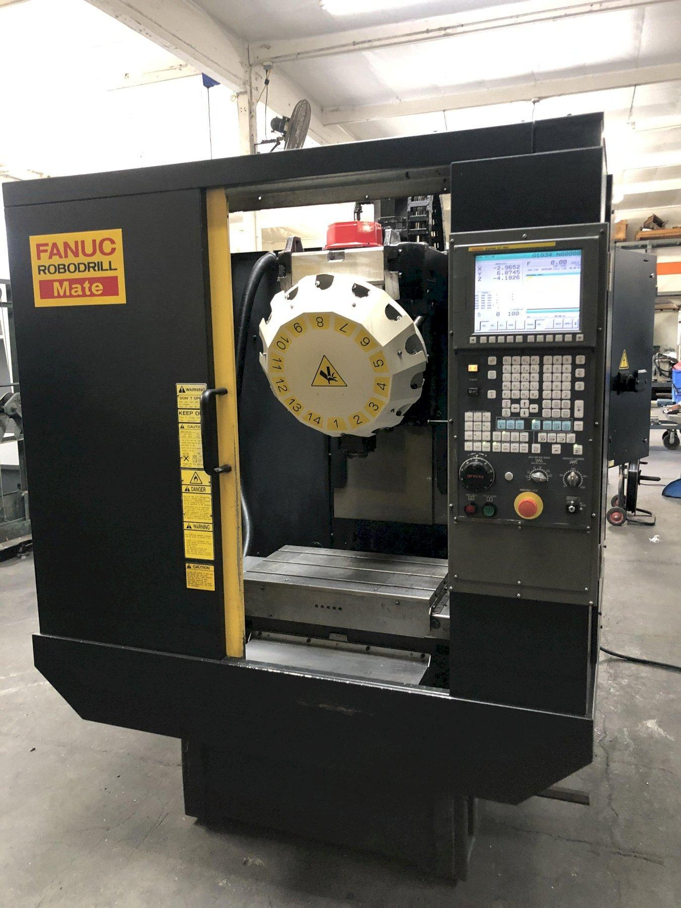 Fanuc Robodrill Mate CNC Drill & Tap Machining Center 2006, Fanuc Oi-MC CNC Control, 14-ATC, 10k RPM Spindle, and Rigid Tapping.
