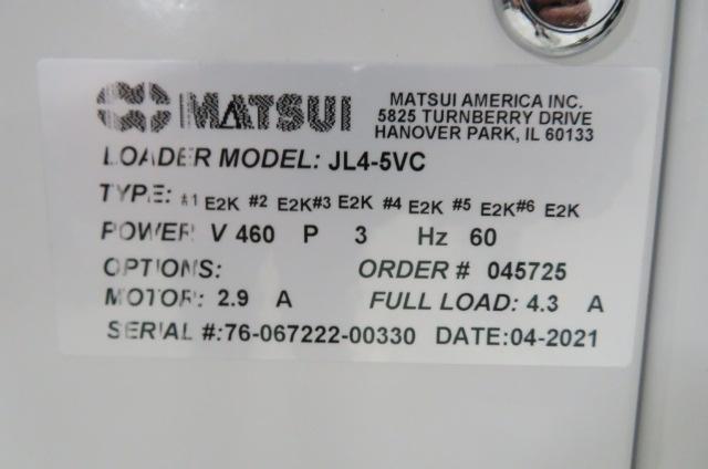 Matsui Used JL4-5VC 6 Port Material Jet Loader, 2hp, 460V, Yr. 2021