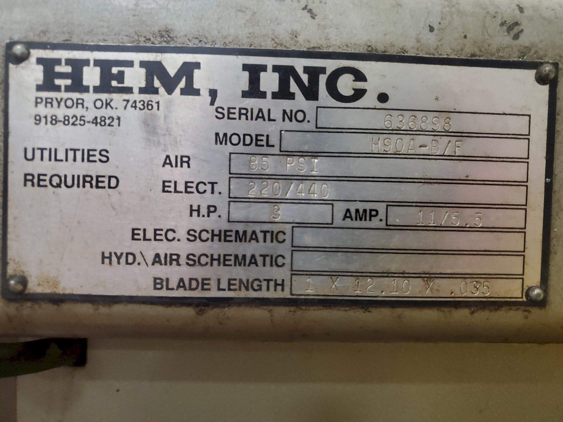"12.75"" x 12.75"" HEM H90A-1  Automatic Horizontal Band Saw Stock# 2783"