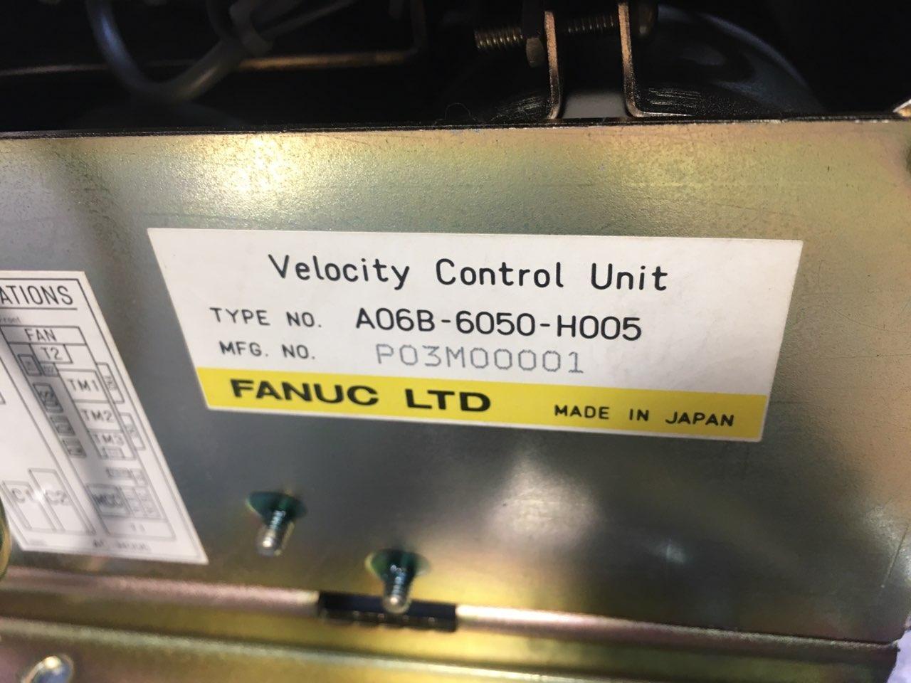 FANUC A06B-6050-H005 VELOCITY CONTROL UNIT with A20B-1000-0560/11F Top Board.