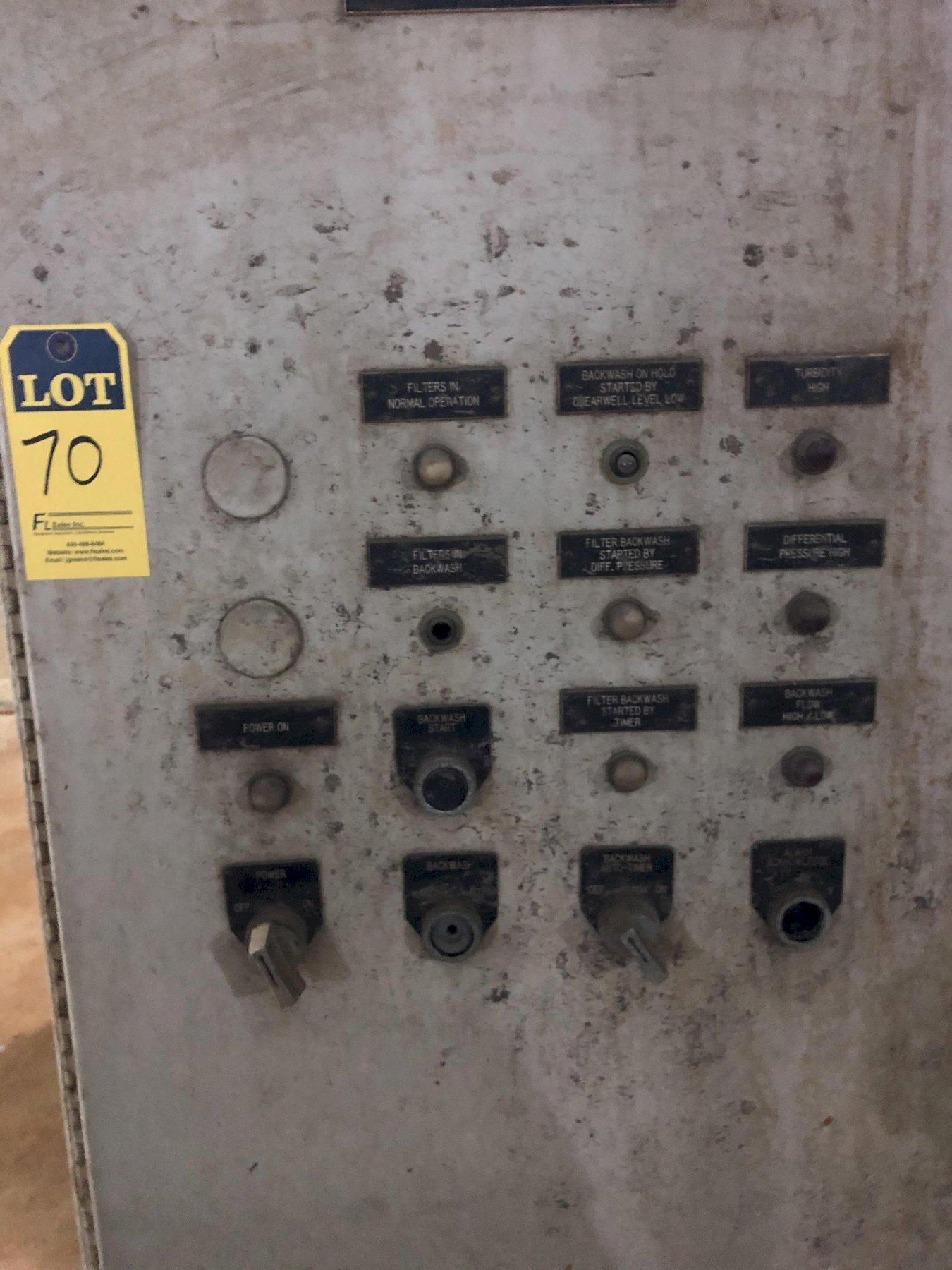 US Filter system with 3- 10' diameter x 5' tall filters and controls
