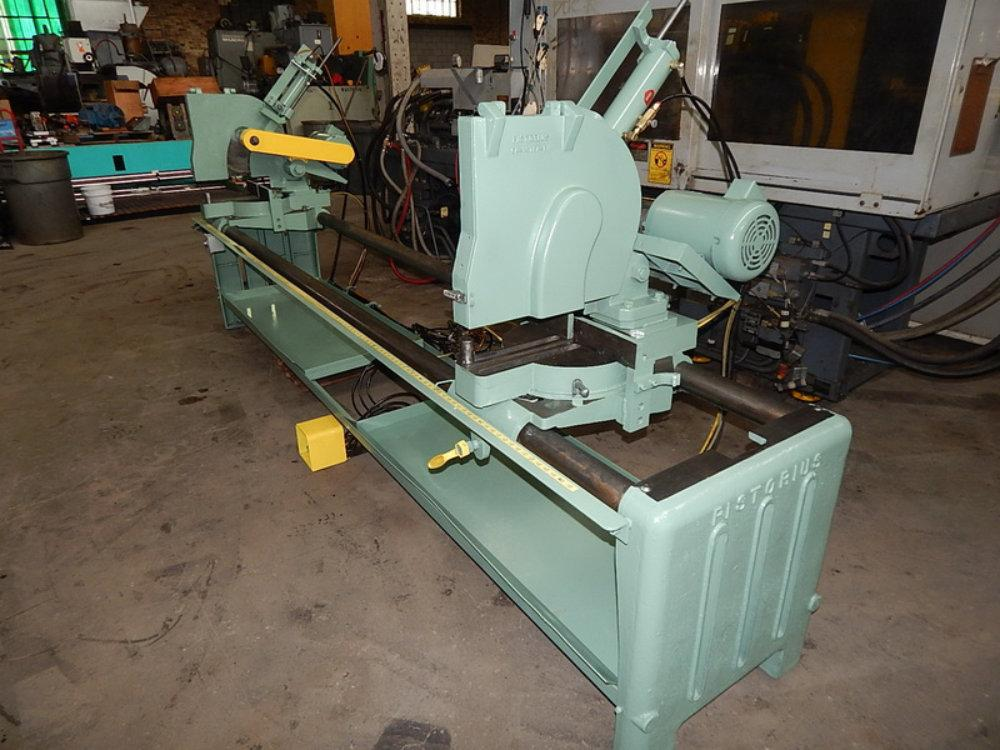 USED PISTORIUS NON FERROUS ADJUSTABLE WIDTH DUAL HEAD MITER SAW, Model DC-16-A, Stock No. 8018