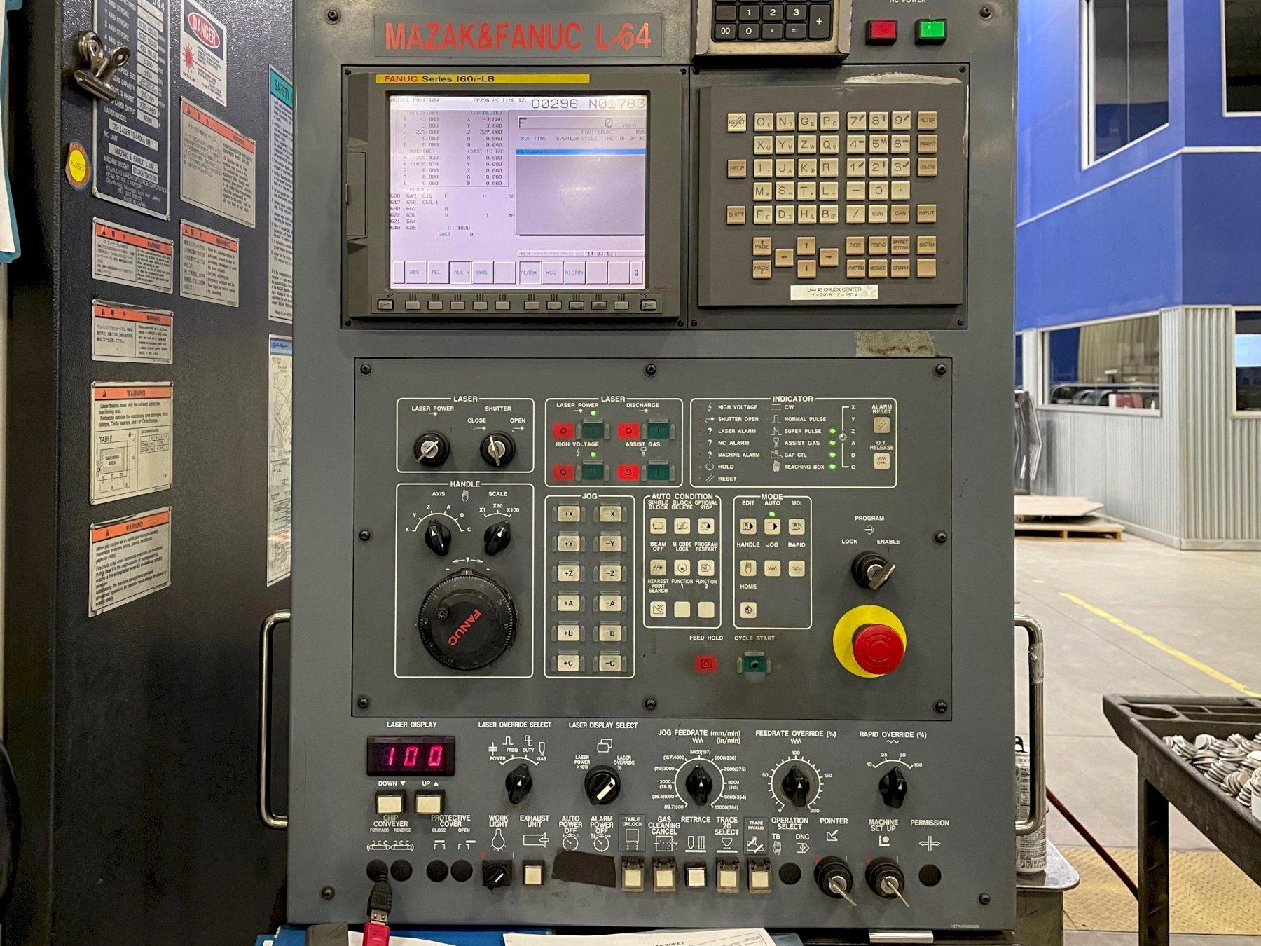 Mazak Space Gear U44 2006 2.5KW 6 Axis w/Rotery CO2 Laser